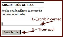 Imagen explicativa para suscribirse al blog.