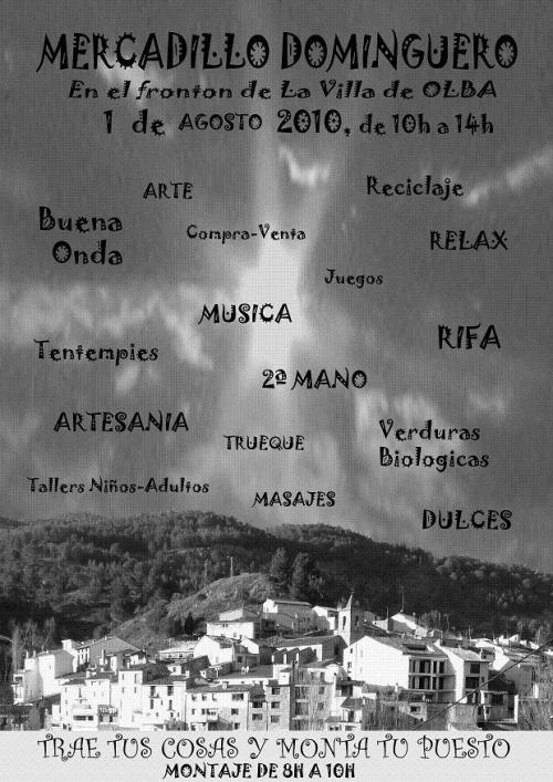 Cartel del 2º Mercadillo Dominguero en Olba - Teruel