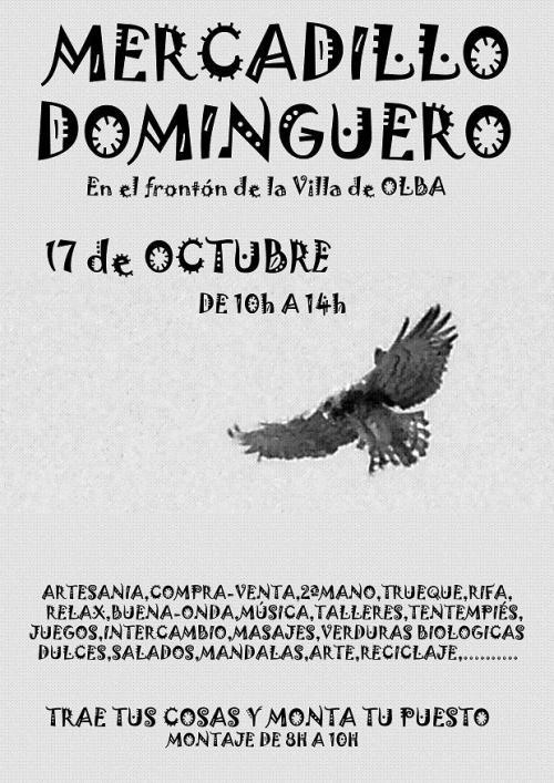 Cartel del Mercadillo Dominguero de Olba-Teruel, el día 17 de octubre de 10h. a 14h.
