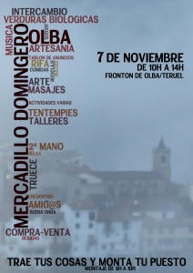 Cartel del mercadillo dominguero.
