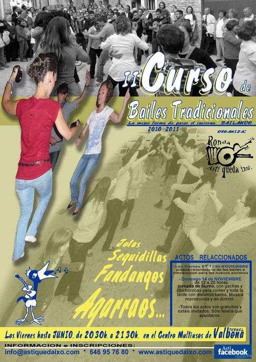Cartel del II Curso de bailes tradicionales en Valbona (Teruel)