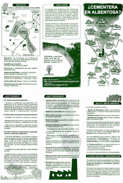 Folleto sobre el proyecto de instalación de una industria cementera en Albentosa (Teruel)