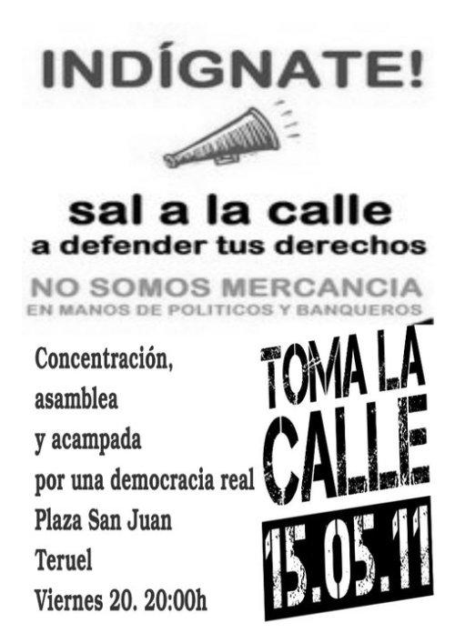 Cartel Democracia Real en Teruel 20-5-11