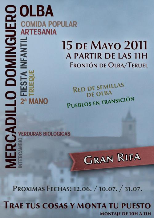 Cartel del Mercadillo Dominguero de Olba - Teruel.