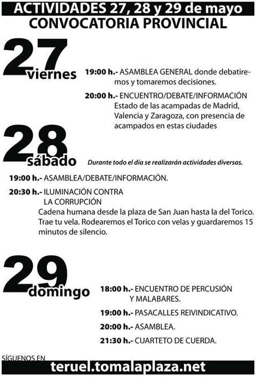 """Interior de la convocatoria para el 27 al 29 Mayo en la acampada de Teruel """"Democracia real Ya"""""""