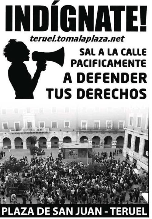 """convocatoria para el 27 al 29 Mayo en la acampada de Teruel """"Democracia real Ya""""."""