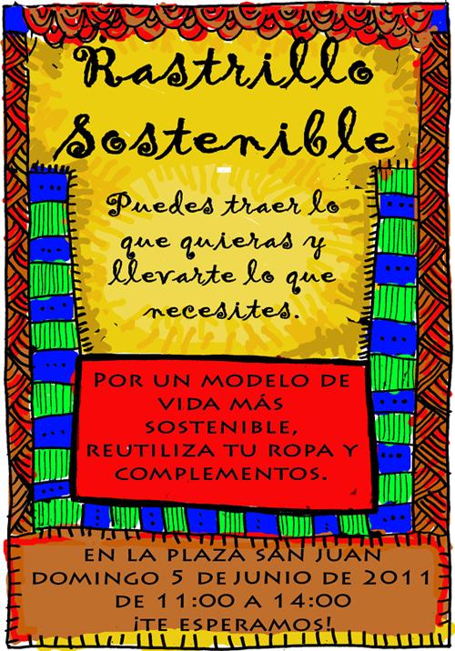 """Cartel del Rastrillo Sostenible. Organiza """"Democracia real Ya"""" de Teruel."""