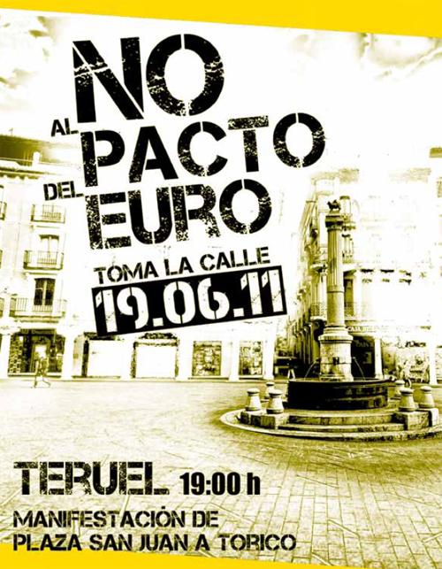 Cartel de la convocatoria para el 10.6.2011 contra el Pacto del Euro.