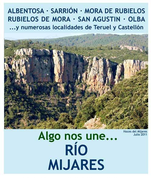 Imagen de las hoces del Mijares, con el mesaje de: Algo nos une... Rio Mijares