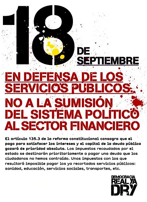 Cara 2 del Cartel de Democracia real Ya - 15 M - Comarcas de interior, de la manifestación del 18 septiembre 2011