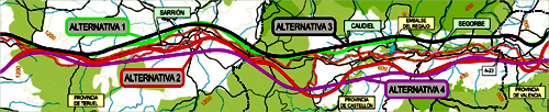 Ave Teruel-Sagunto - 4 alternativas a estudio