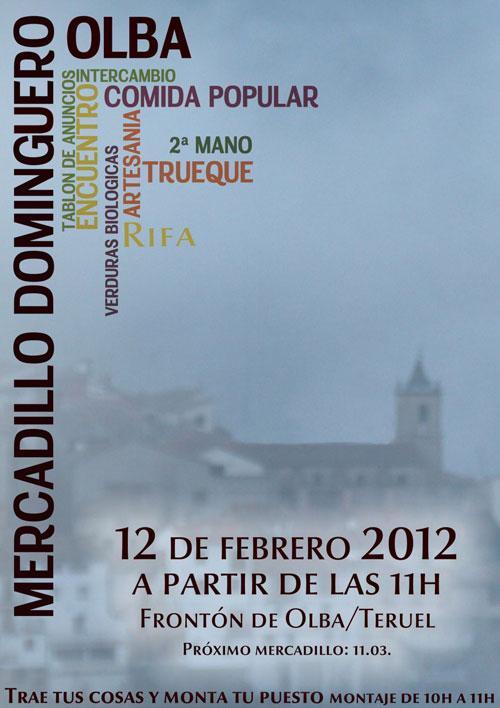 Cartel del Mercadillo Dominguero en Olba – Teruel el próximo día 8 de Enero de 2012