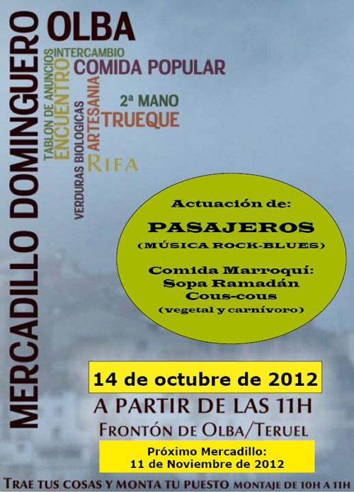 Cartel del Mercadillo Dominguero en Olba - Teruel
