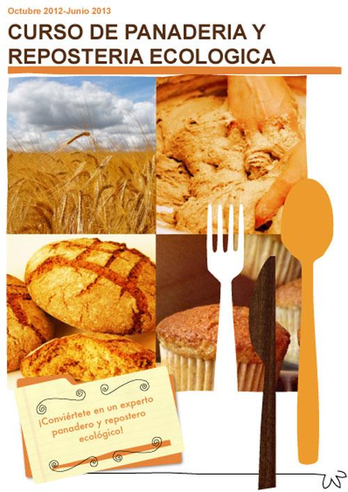 Primera imagen del díptico del curso de panadería y repostería ecológica 2012 - 2013