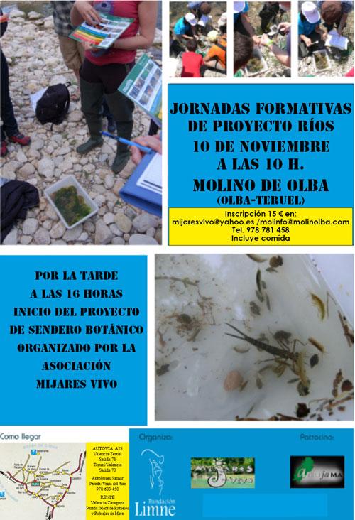 """Cartel de la Jornada """"Proyecto Rios"""" el 10 de Noviembre de 2012, en el Molino de Olba - Teruel"""