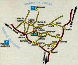 Mapa de localizacion de Olba - Teruel