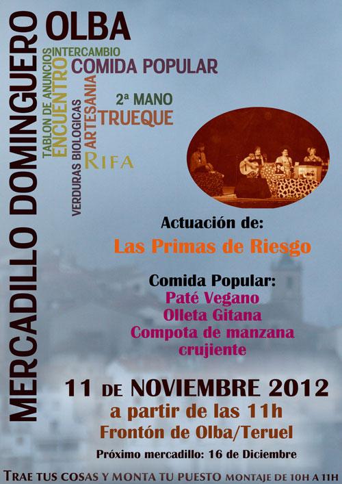 Cartel del Mercadillo dominguero el 11 de Noviembre 2012 en Olba - Teruel