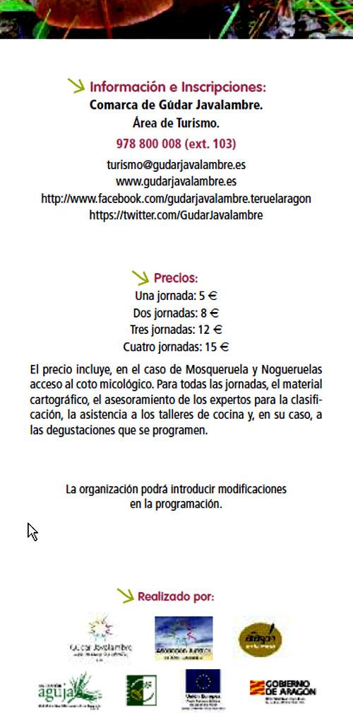 """Parte de atrás del tríptico de """"Otoño micológico en Gúdar-Javalambre (Teruel)"""""""