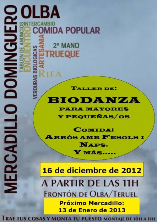 Cartel del Mercadillo Dominguero en Olba, el 16 de Diciembre de 2012