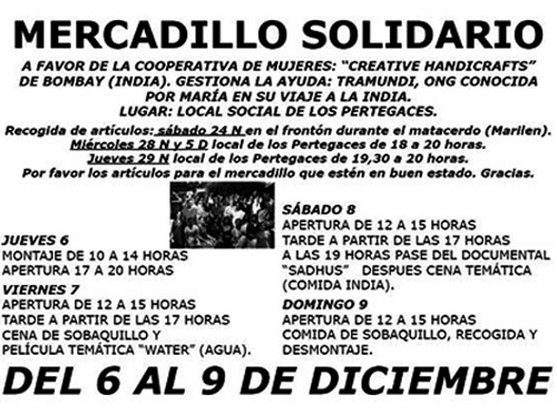 Cartel del Mercadillo solidario de Olba, 6 y 9 de 2012