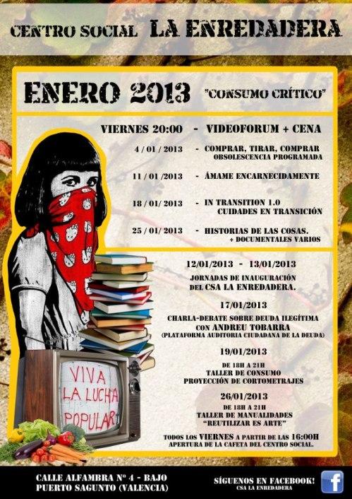 Cartel de las actividades de Enero de 2013 del Centro Social La Enredadera en Puerto de Sagunto - Valencia.