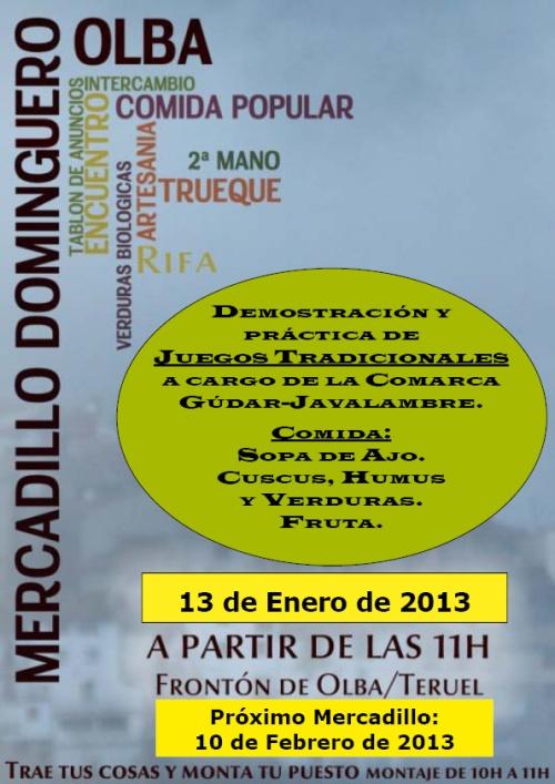 Mercadillo dominguero en Olba - Teruel, el 13 de Enero de 2013