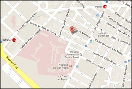 Mapa con la ubicación de la reunión de la CIV