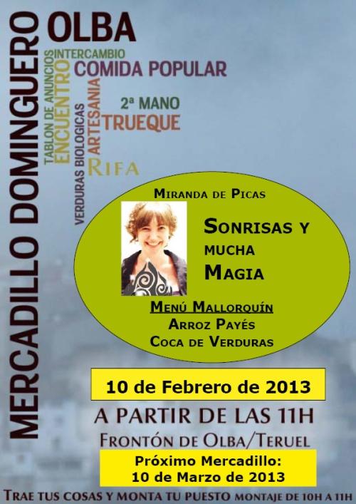 imagen del cartel del Mercadillo dominguero del 10 de Febrero de 2013 en Olba - Teruel.