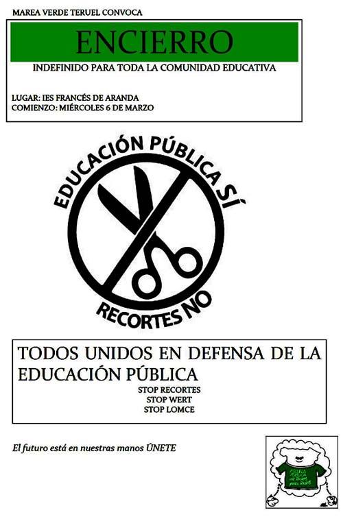 Encierro por la educación- Marea Verde Teruel - Marzo 2013