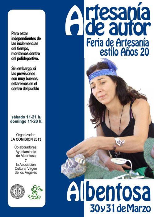 Cartel de la feria de artesanía estilo años 20, en Albentosa - Teruel el 30 y 31 de marzo de 2013