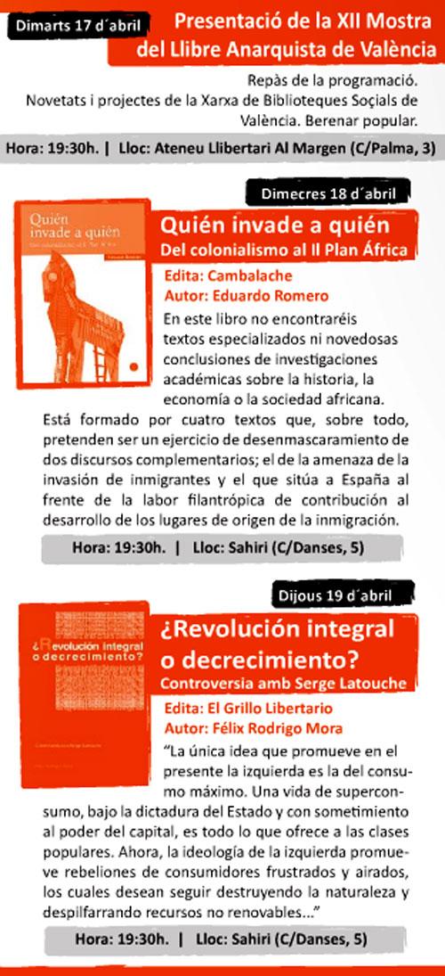 Programa de la Mostra del llibre anarquista de Valencia - 1