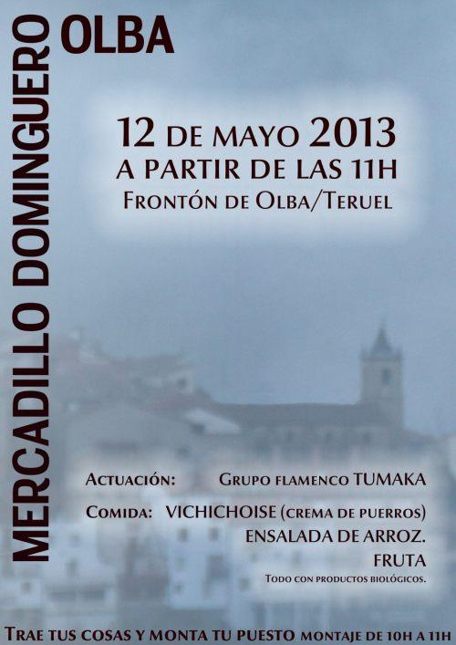 Cartel del mercadillo en Olba - Teruel el 12 de mayo de 2013