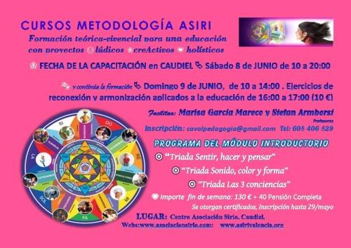 Cartel módulo introductorio metodología Asiri, en  Caudiel el 8 y 9 de Junio de 2013