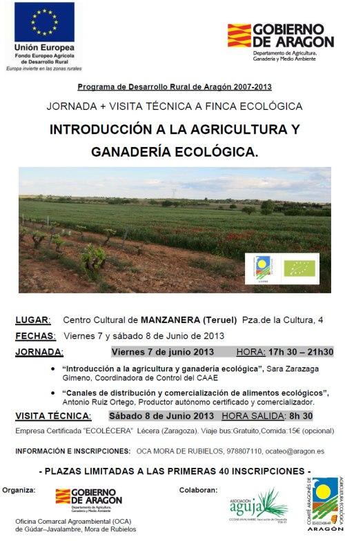 Cartel de Jornada Introducción a la agricultura y ganadería ecológica.