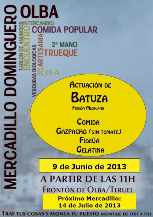 Cartel del mercadillo dominguero en Olba  - Teruel el 9 de Junio de 2013