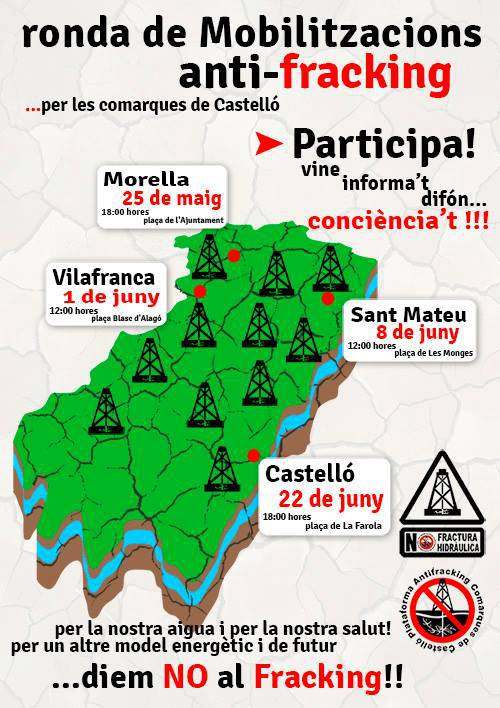 Cartel de las próximas manifestaciones anti-fracking en Castellón