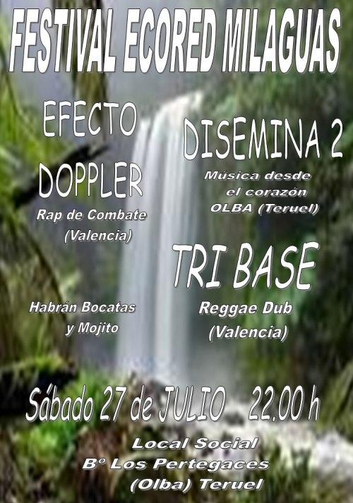 Cartel Festival EcoRed Milaguas, 27 Julio 2013, Los Pertegaces (Olba).
