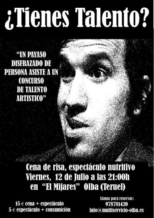 Cartel del espectáculo de humor y cena, el día 12 de julio, en el Multiservicio Rural Río Mijares de Olba (Teruel).