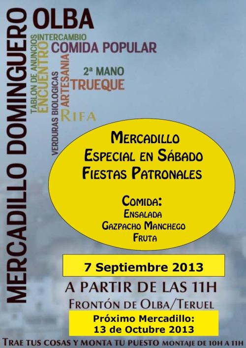 Cartel del Mercadillo dominguero en Olba - Teruel, el 7-9-2013