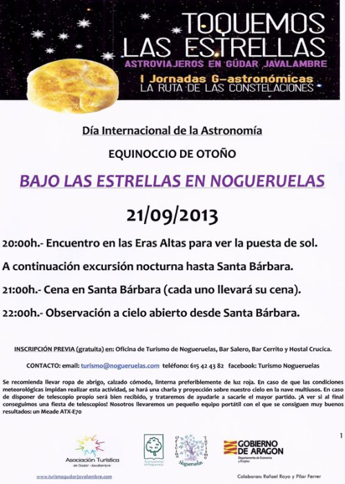 Cartel de la excursión astronómica en Nogueruelas - Teruel, el 21 del 9 de 2013.