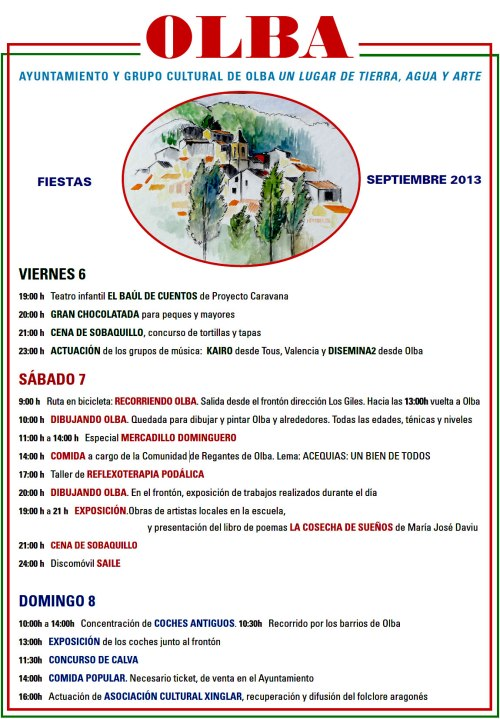 Programa de fiestas de Olba - Teruel