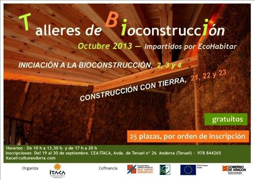 Taller de bioconstrucción en Andorra - Teruel, del 21 al 23 de Octubre de 2013