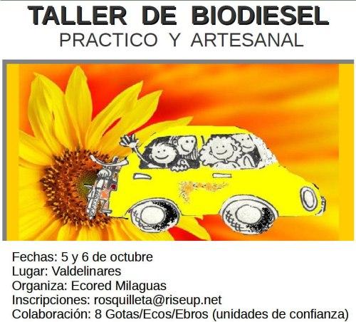Cartel del taller de biodiesel con datos básicos.