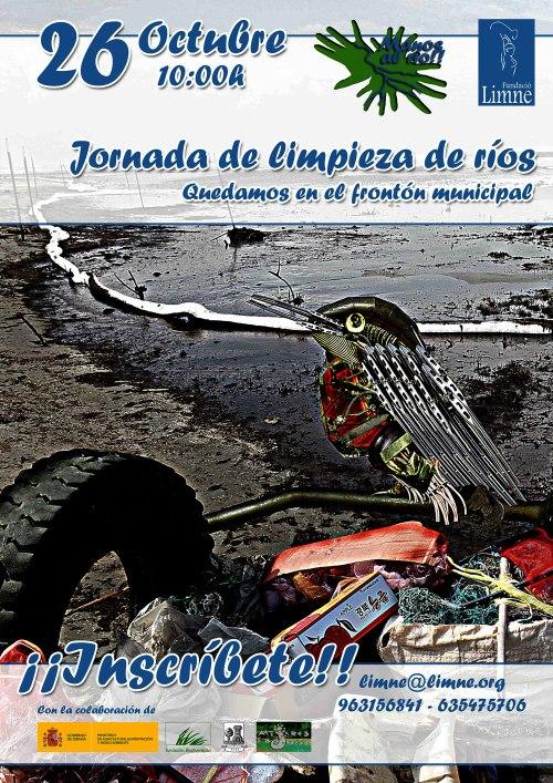 """Cartel de la """"Jornada de limpieza de ríos"""", el 26 de Octubre a las 10 h. en el frontón de Olba - Teruel ."""