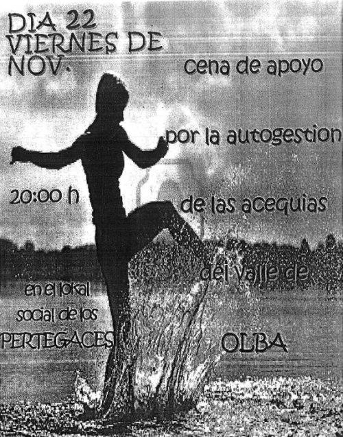 Cartel de la cena por la autogestión de las acequias en Olba - Teruel.