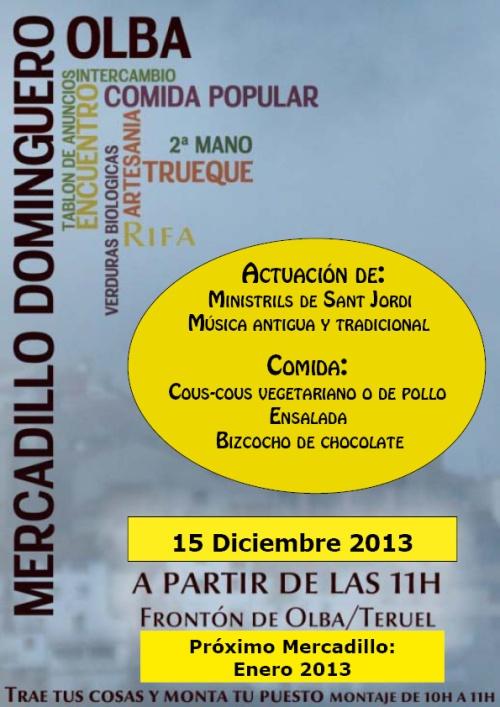 Cartel del mercadillo dominguero de Olba - Teruel
