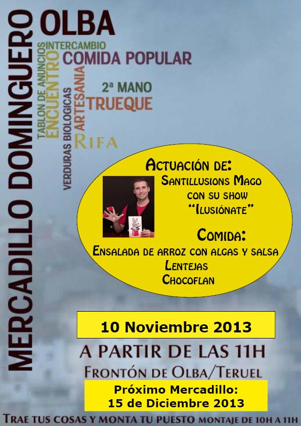 Cartel del Mercadillo Domiguero del 10 de Noviembre 2013 en Olba - Teruel