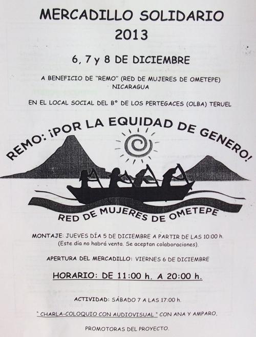 Cartel del Mercadillo Solidario de Olba - Teruel.