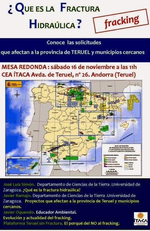 Cartel mesa redonda fracking Teruel.