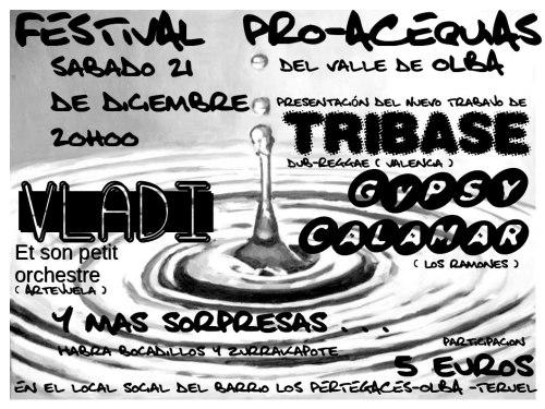 Cartel del concierto por las acequias, el 21 de diciembre en Olba - Teruel.